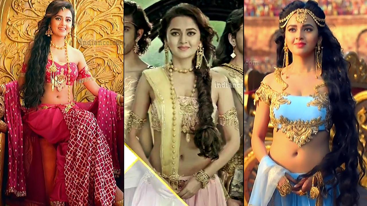 Tejaswi Prakash hot low waist navel show Karn sangini tv caps