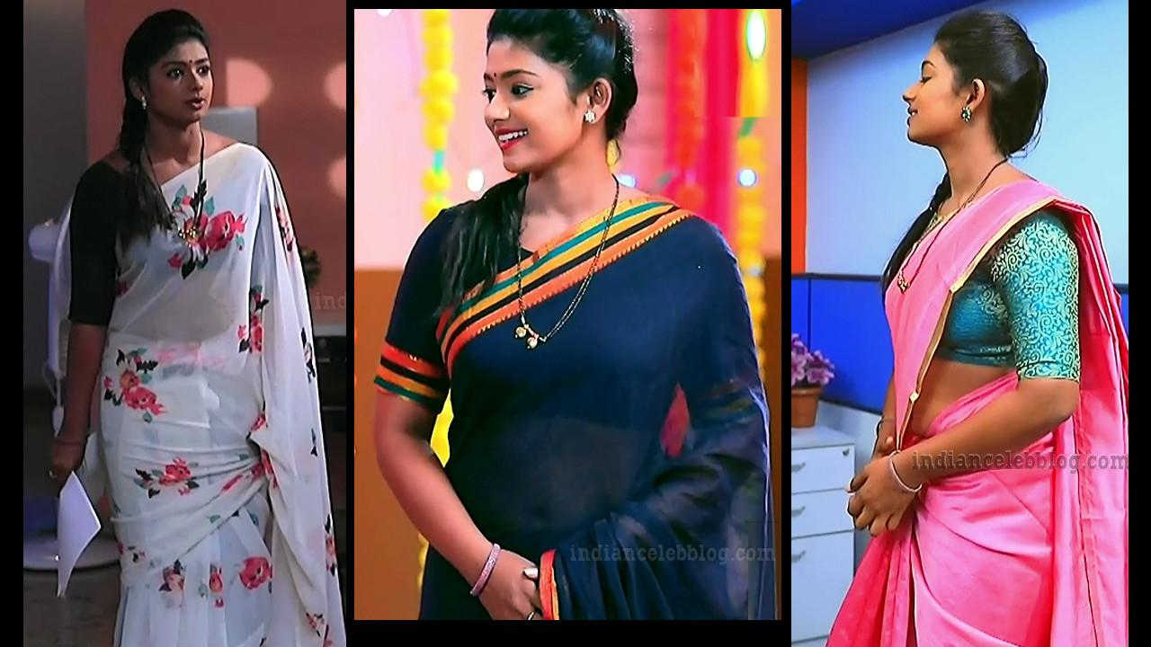 Bhoomi shetty Kinnari serial actress hot saree HD caps.