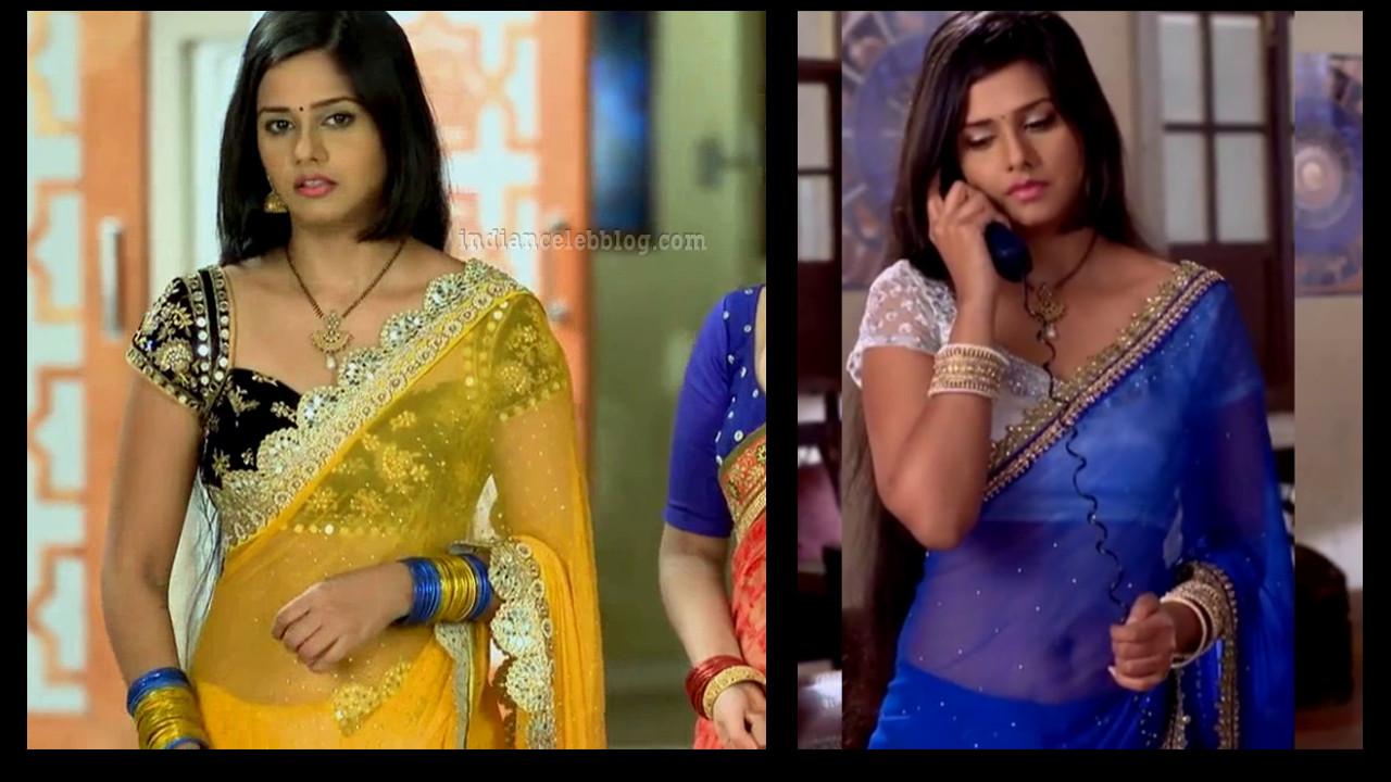 Daljeet kaur navel show in see through saree HD caps