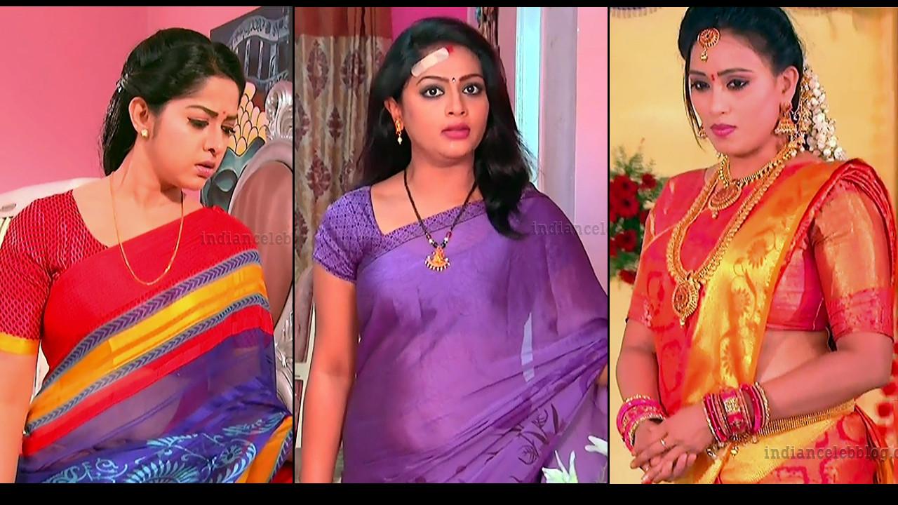 Telugu TV serial actress hot saree caps mix