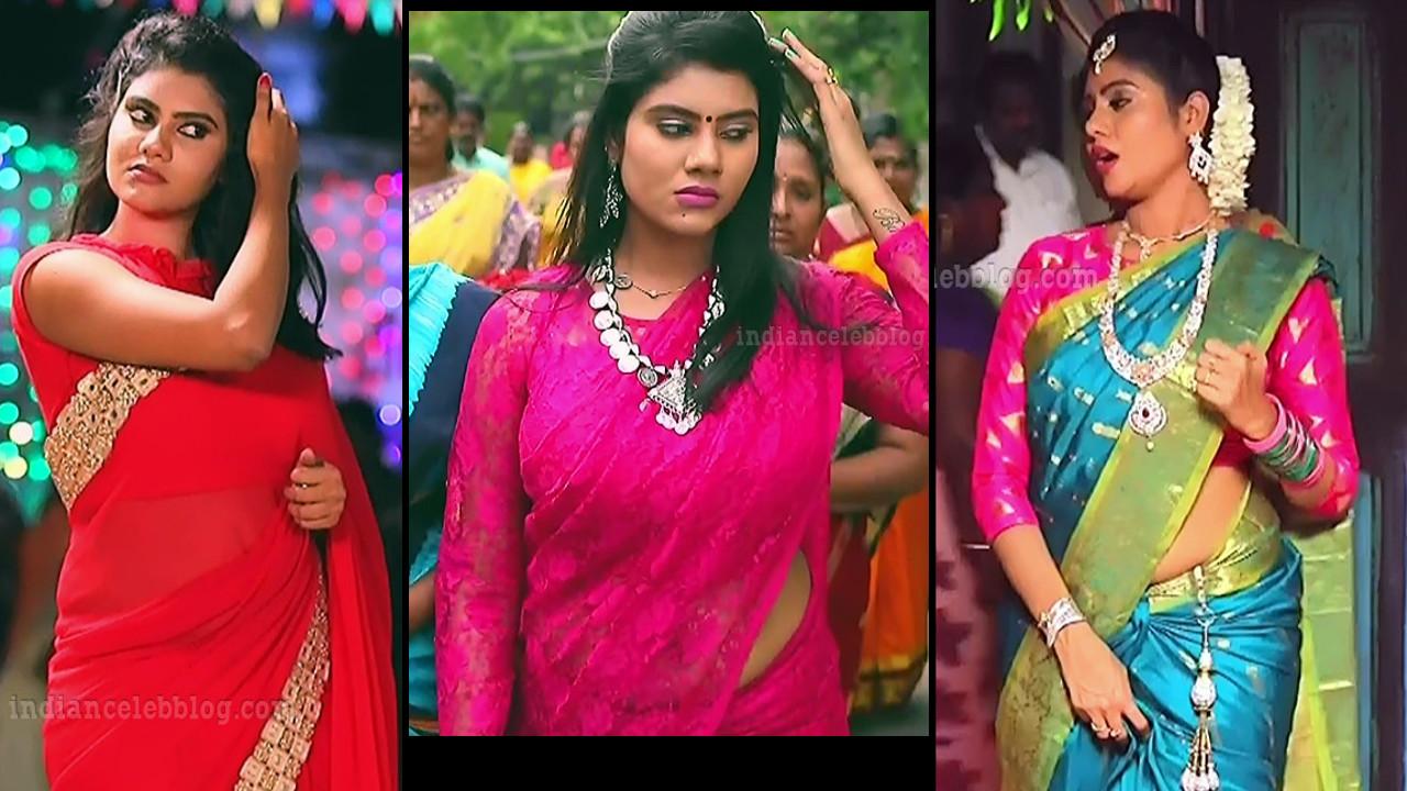 Nivisha tamil serial actress Hot TV HD caps in saree