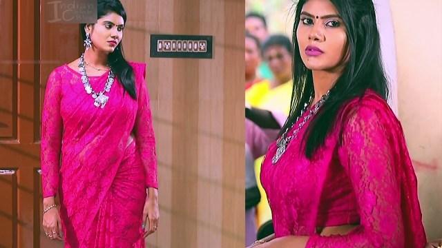 Nivisha tamil tv actress eeramana rojave s1 6 saree pics