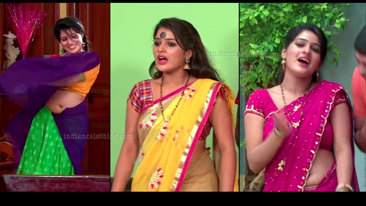 Monisha telugu tv actress sexy saree navel show serial caps
