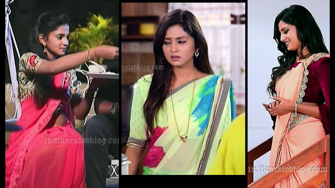 Raksha  Gowda Putmalli Kannada serial actress tv caps in sari