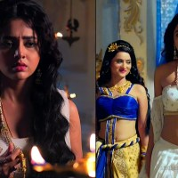 Tejaswi Prakash hot navel show HD caps from Karn sangini series