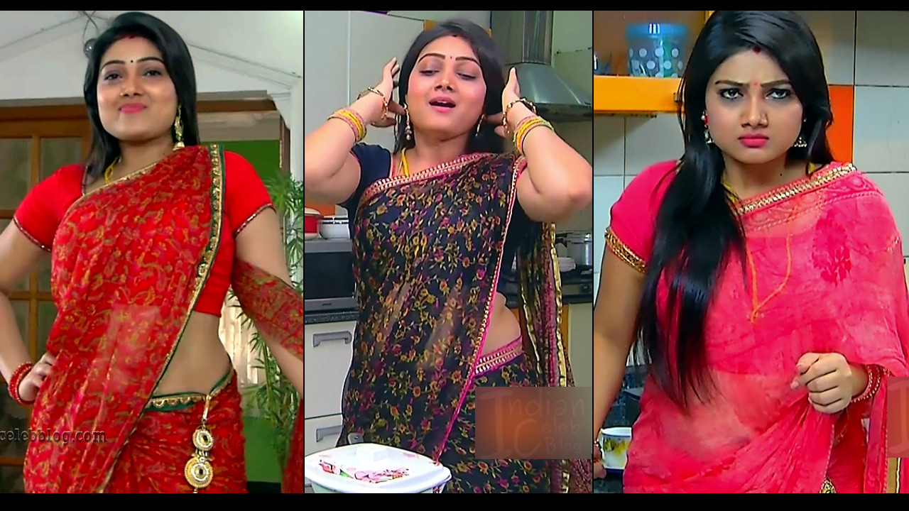 Priyanka Nalkari hot Saree navel show Roja serial caps