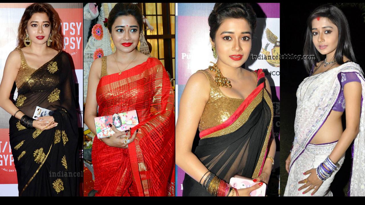 Tina Datta hot sleeveless blouse saree photo gallery