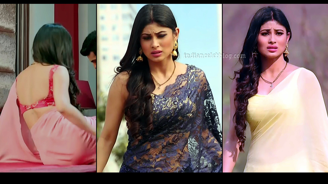 Mouni Roy hot backless saree caps from Naagin series