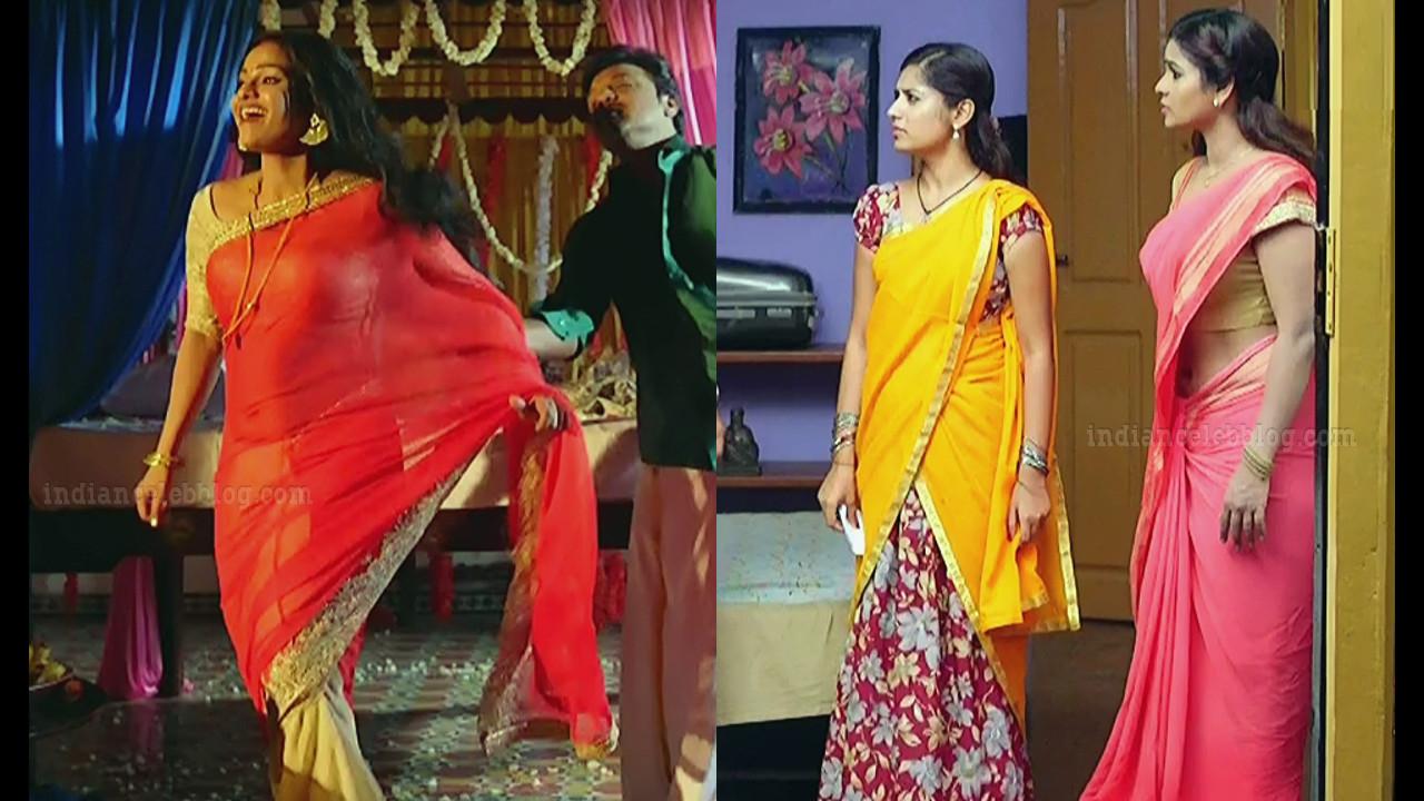 Leesha eclairs Kanmani tamil serial hot Saree Caps