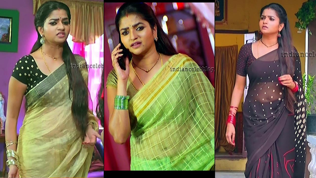 Nithya ram tv actress hot saree caps from Nandini tamil serial