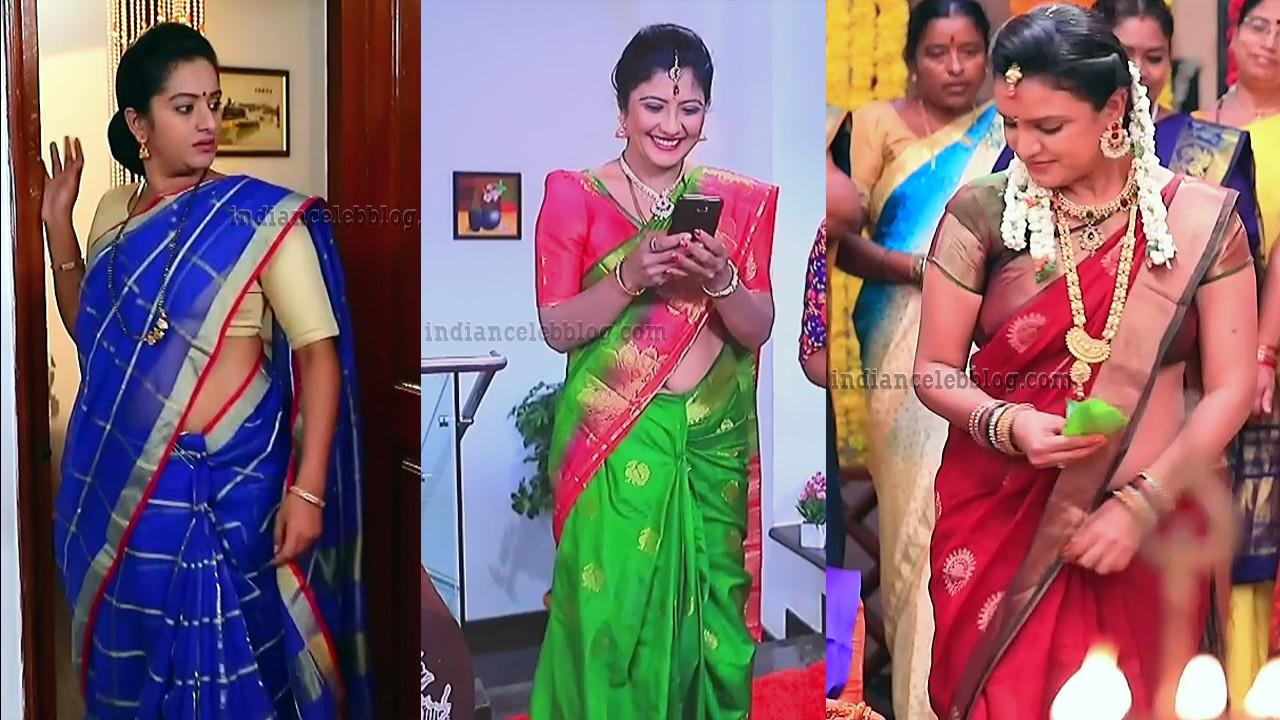 Kannada TV actress hot saree caps mix gallery