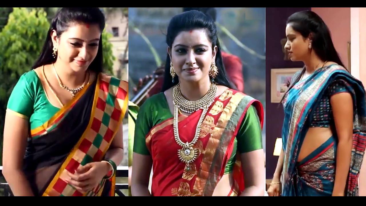 Nisha Krishnan Tamil serial actress TV Saree Caps