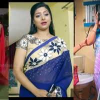 Syamantha kiran Tamil TV actress hot saree caps