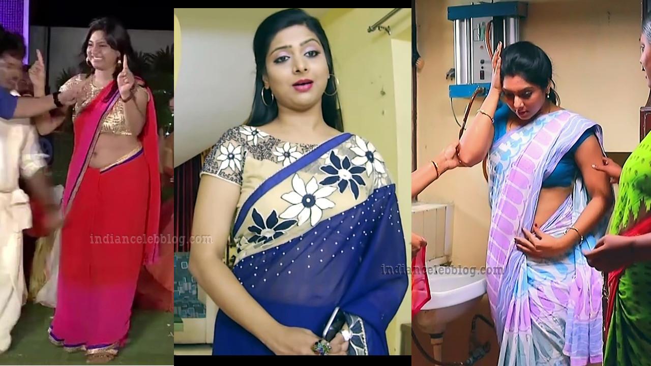 Syamantha kiran Tamil TV actress hot saree caps