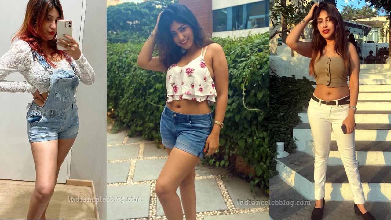 Priyanka rathod hot thighs navel show in shorts crop top