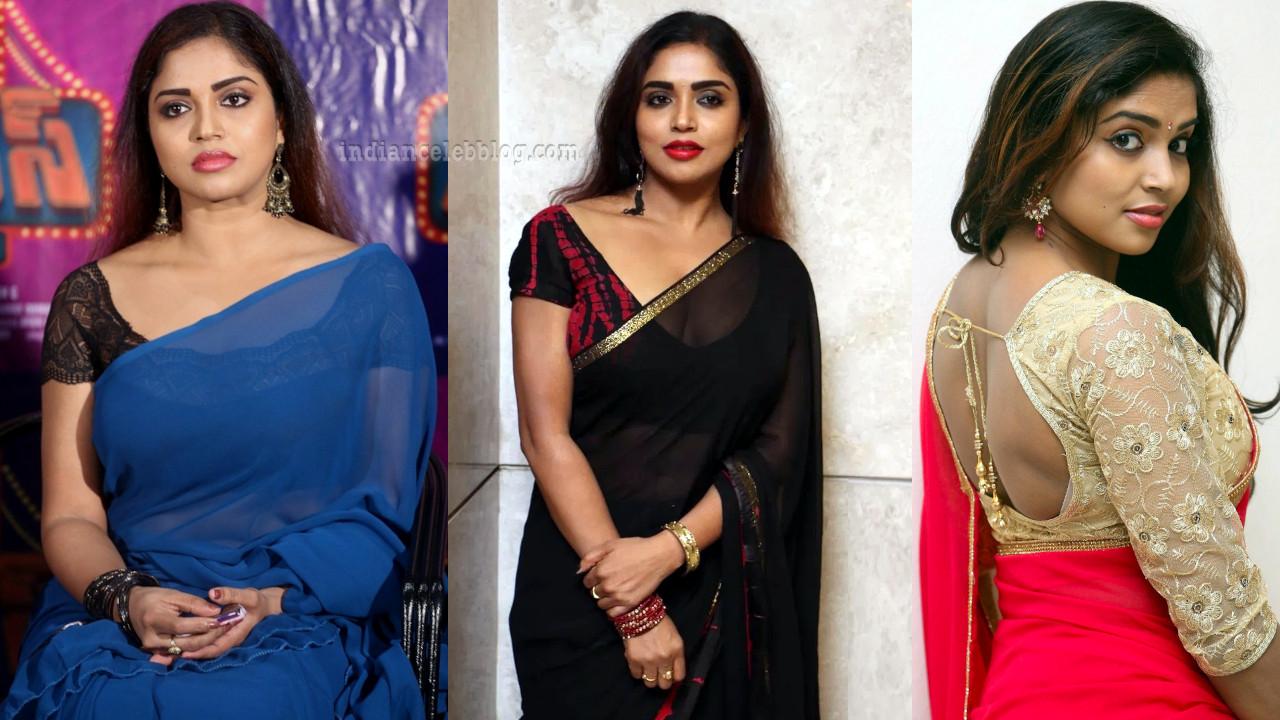 Karunya chowdary south actress hot transparent sari pics