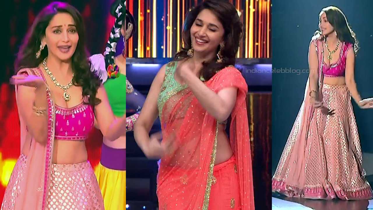 Madhuri dixit cleavage show in low cut blouse tv show caps