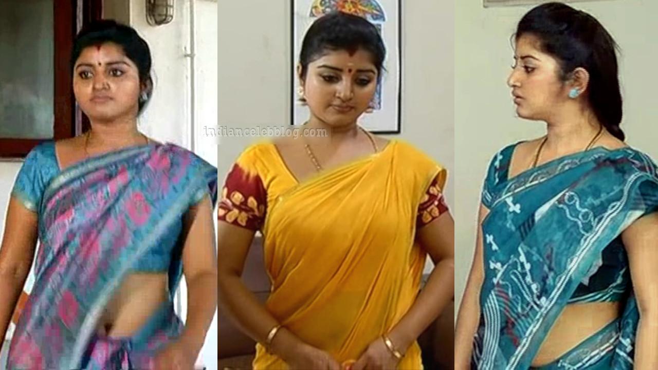 Mahalakshmi tamil tv actress hot saree caps