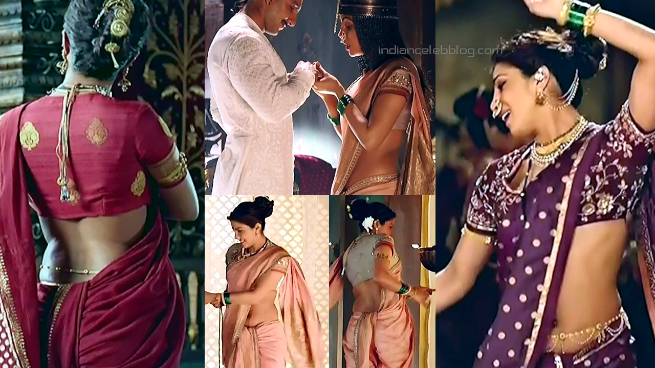 Priyanka chopra bollywood sexy saree midriff show photos hd caps