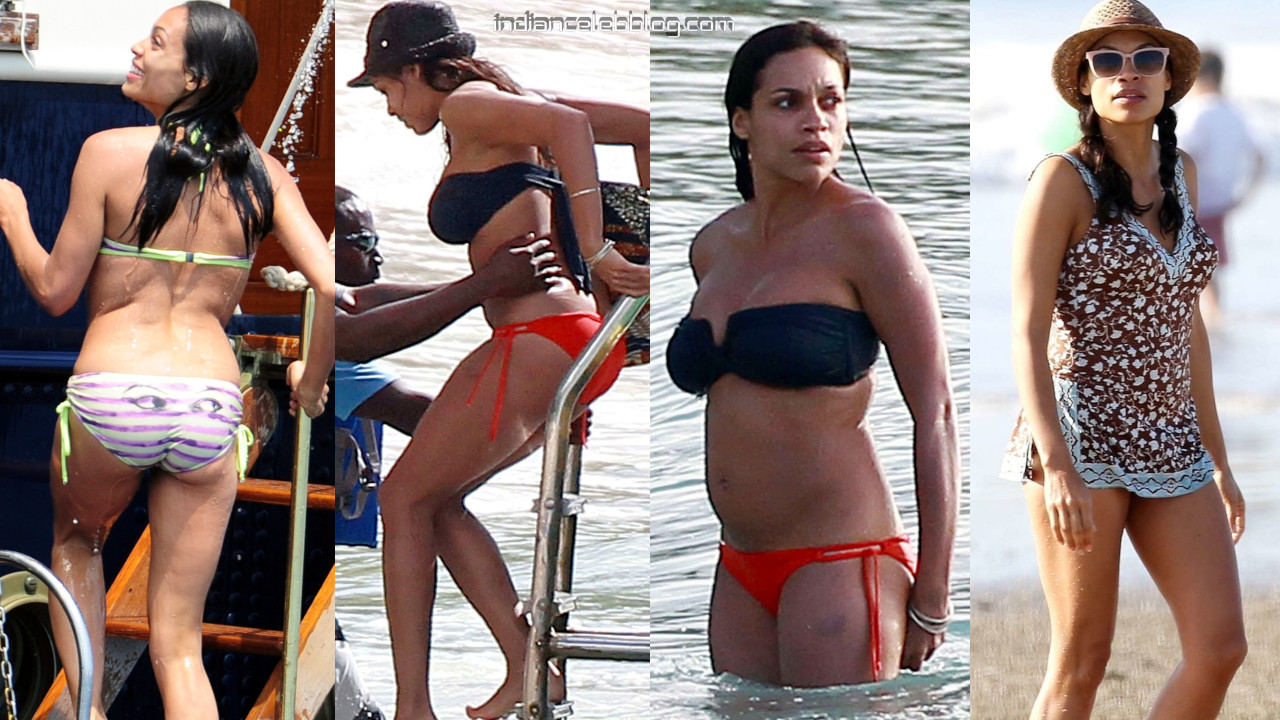 Rosario dawson hot bikini swimsuit paparazzi beach photos