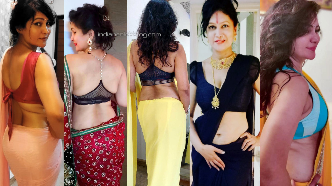 Vijaya murthy selfie queen actress sexy backless blouse saree pics