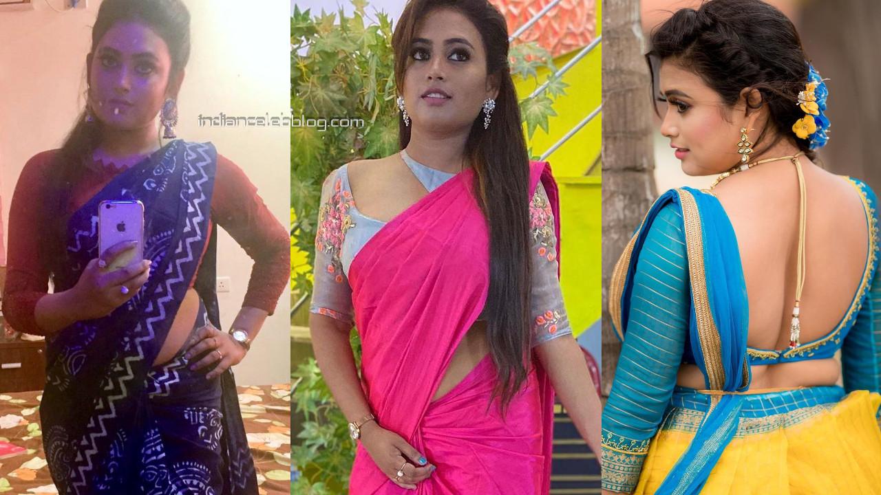 Farina azad barathi kannamma tamil serial actress hot saree social media pics
