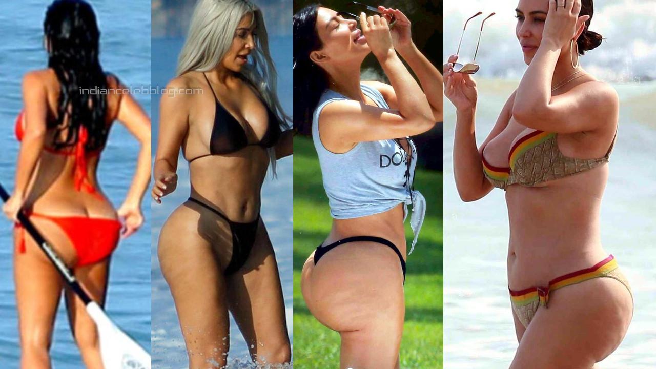 Kim kardashian west hot sexy bikini butts show beach candid photos