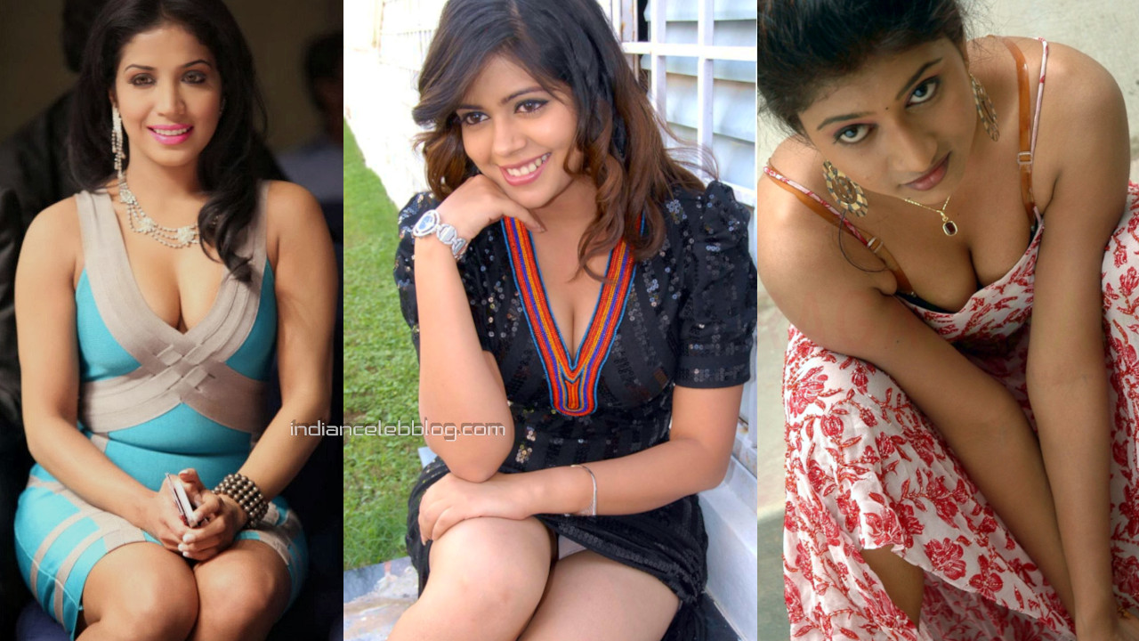 Telugu South indian movie actress hot cleavage show stills photo mix