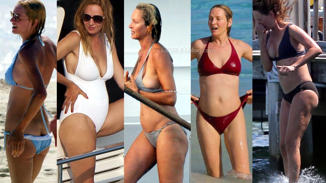 Uma thurman hollywood hot bikini candids beach paparazzi photos