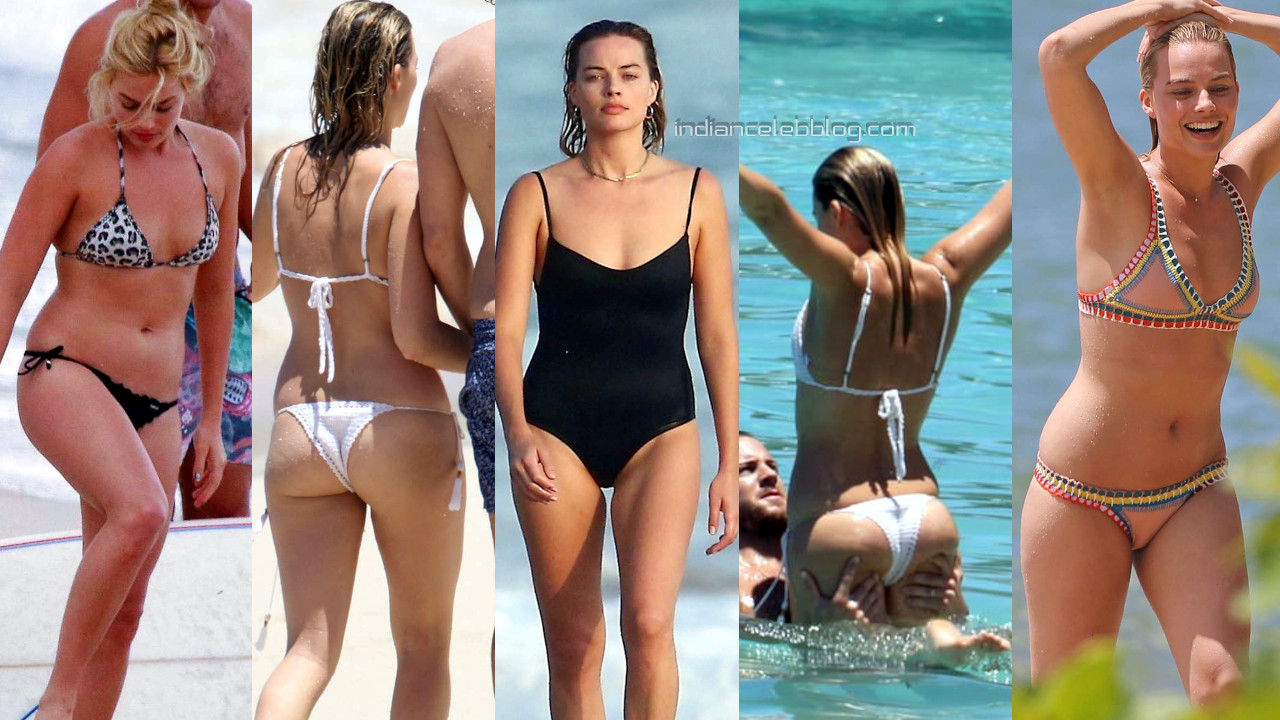 Margot robbie hot bikini candids beach paparazzi photos