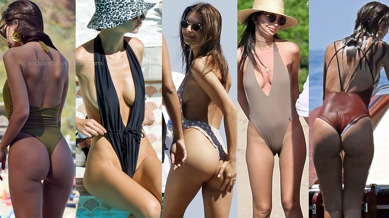 Emily ratajkowski sexy butts show in one piece swimsuit candid photos