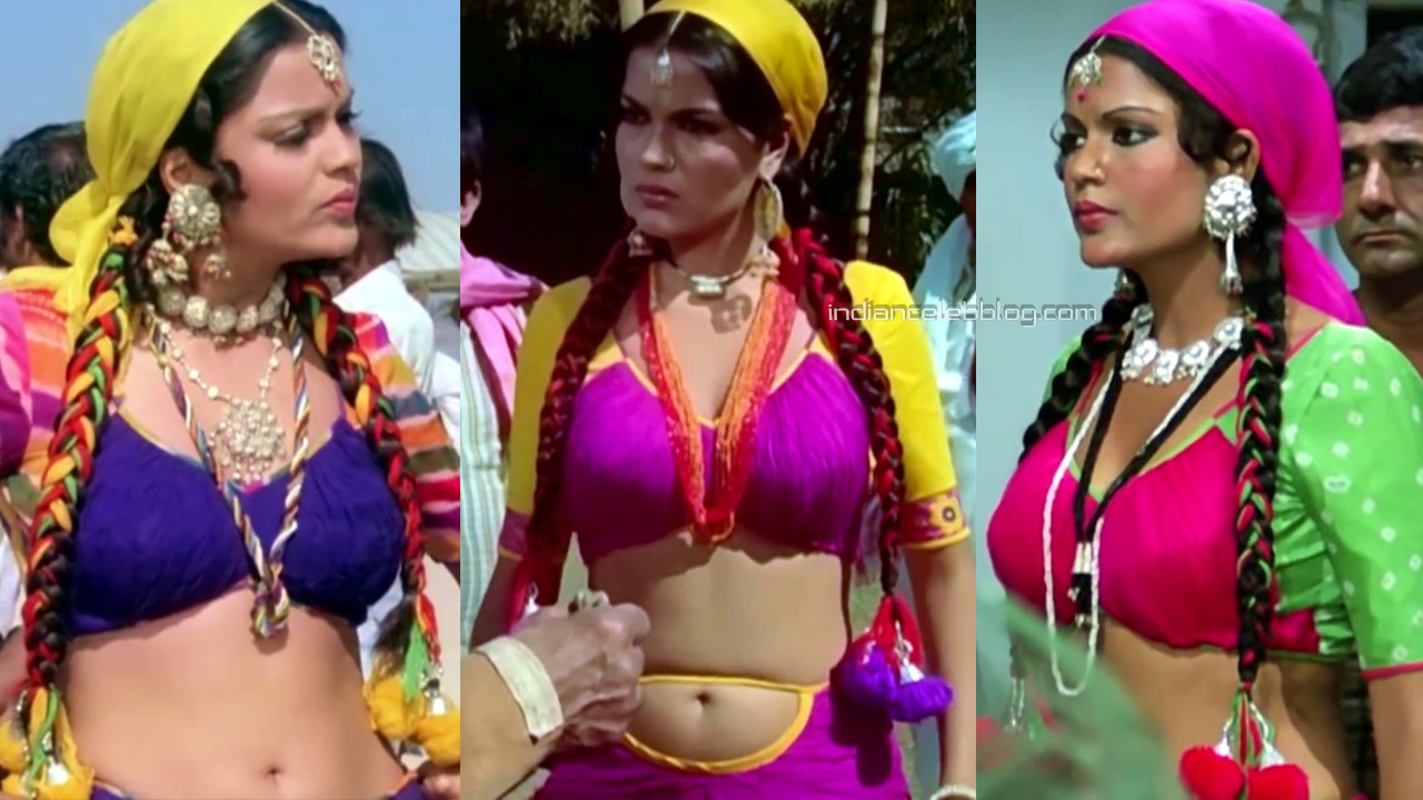 Zeenat aman bollywood sexy navel show in midriff dress pics caps