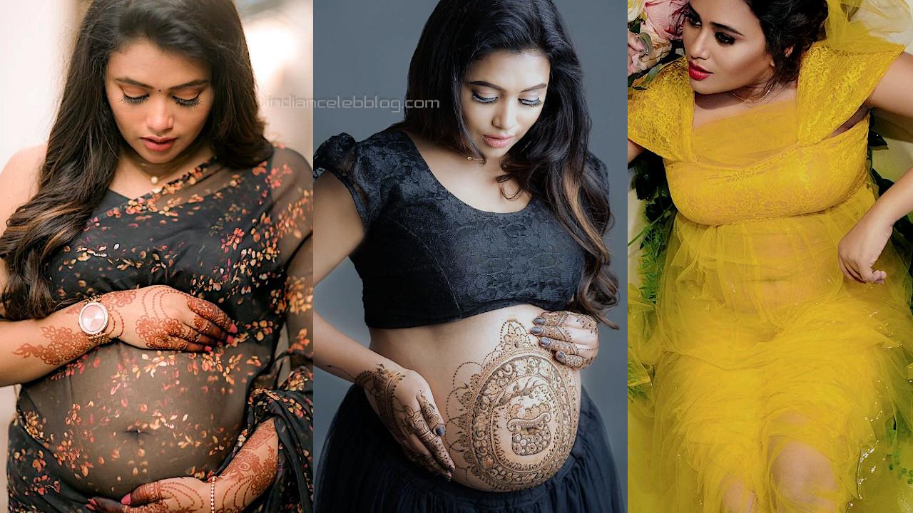 Farina azad tamil tv anchor actress flaunts pregnant belly baby bump photos