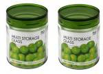 Lock & Lock P & Q Green Glass Canisters - 430 ml
