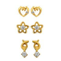 Mahi Eita Collection Combo of Gold Plated Crystal Stones Stud Earrings For Women