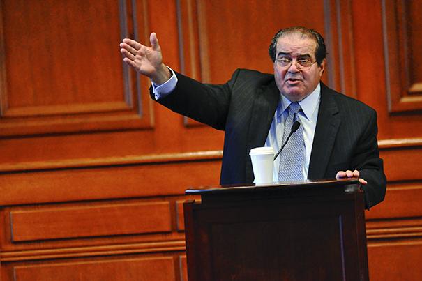 "Associate Justice Antonin Scalia '60 delivers inaugural Vaughan Lecture, ""methodology of originalism"" at Harvard Law School. (Photo: Harvard Gazette)"