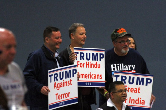 "Republican presidential candidate Donald J. Trump on Saturday was the headline speaker at a charity event, ""Humanity United Against Terror,"" held at the New Jersey Convention and Exposition Center, Edison, and hosted by the Rupublican Hund Coalition. (Dennis Comella 