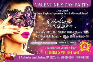 Valentine Party with Bollywood band DIN CHECK!! @ Olive and Mint - Indian and Mediterranean restaurant!
