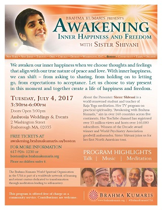 Awakening:Inner Happiness and Freedom – with Sister Shivani