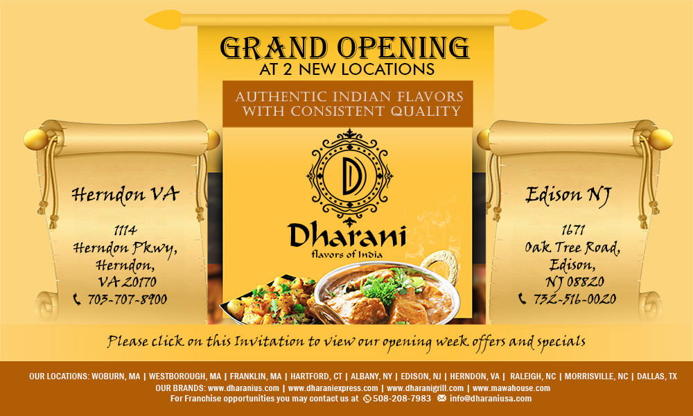 Dharani Launches Indian Restaurants In New Jersey And