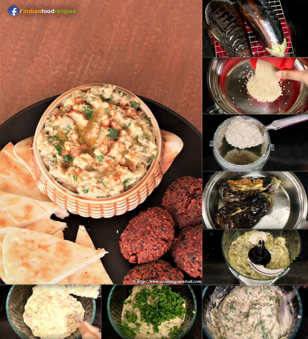 Baba Ganoush (Creamy roasted eggplant dip) recipe step by step