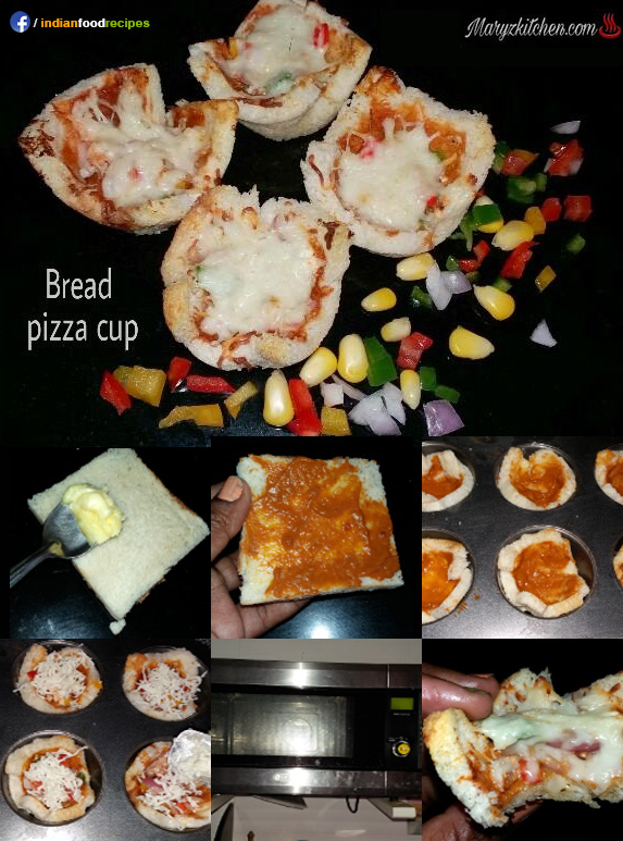Bread pizza cup recipe step by step