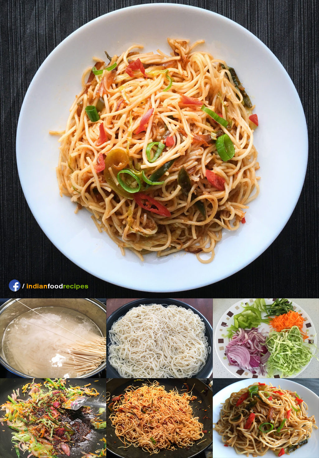 Hakka Noodles Indo chinese recipe step by step
