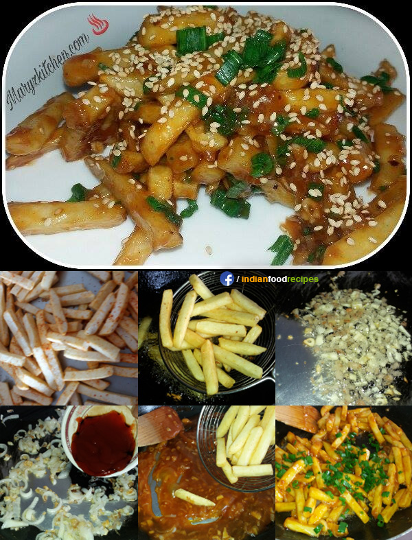 Honey chilli sesame potatoes recipe step by step