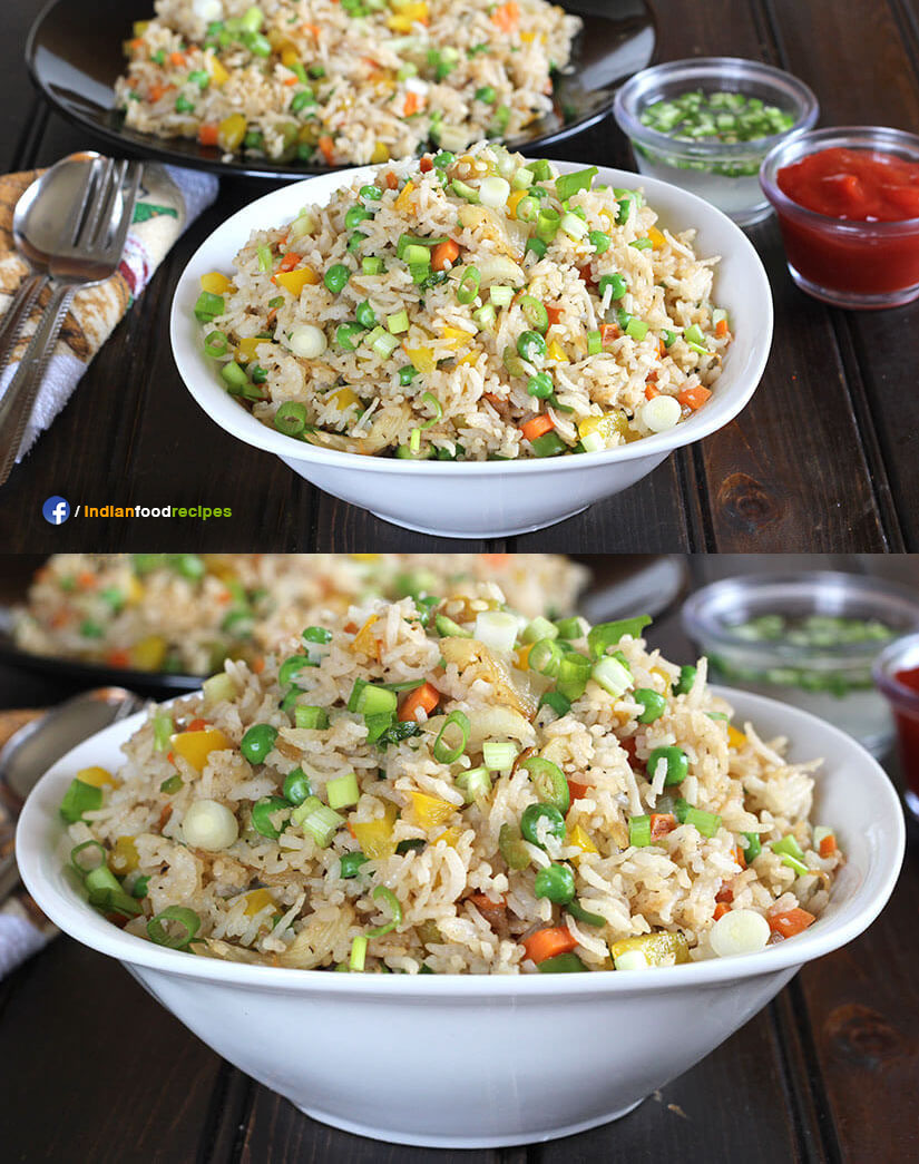 Indo Chinese Fried Rice / Vegetable Fried Rice recipe