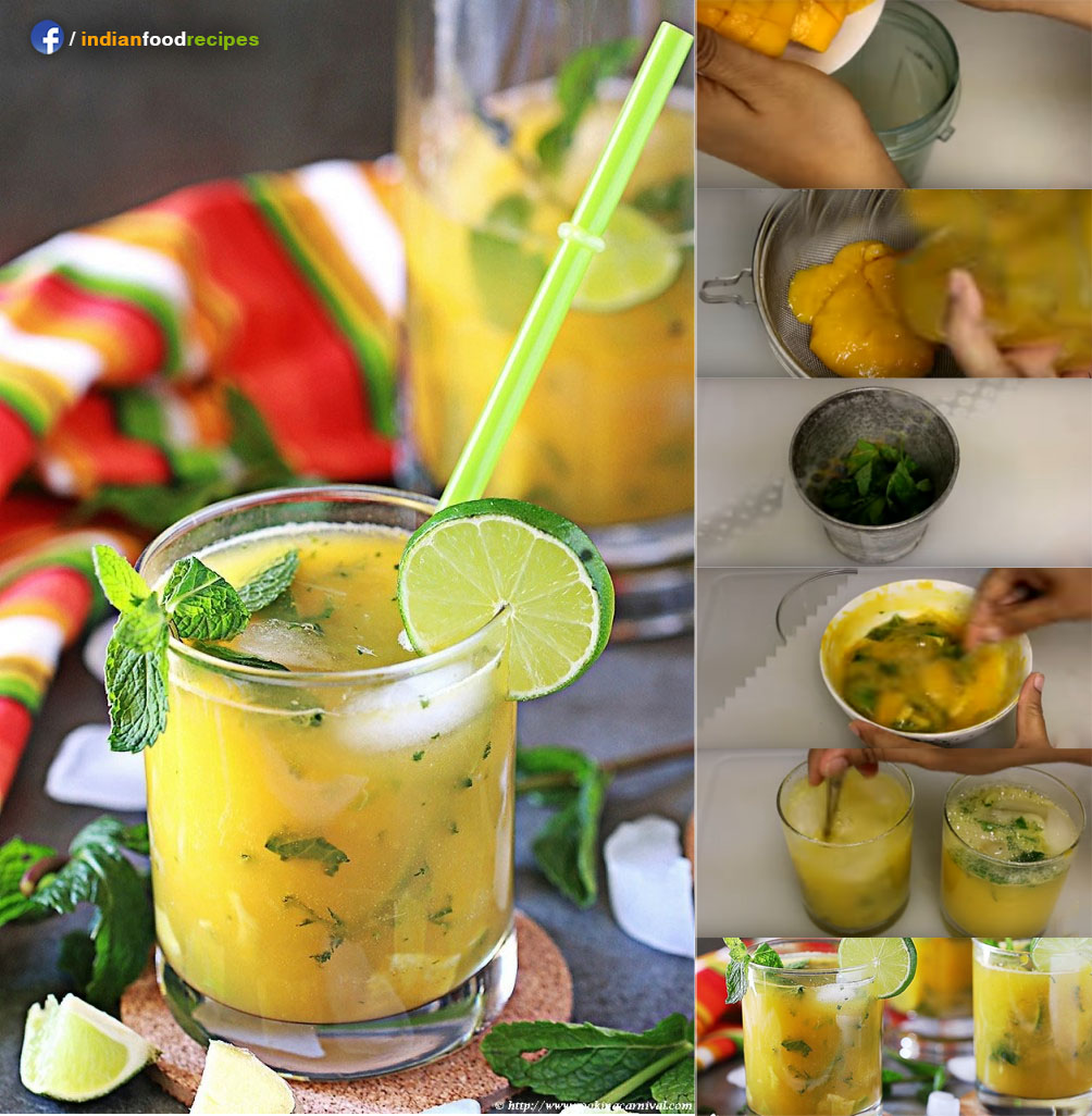 Mango Ginger Virgin Mojito recipe step by step