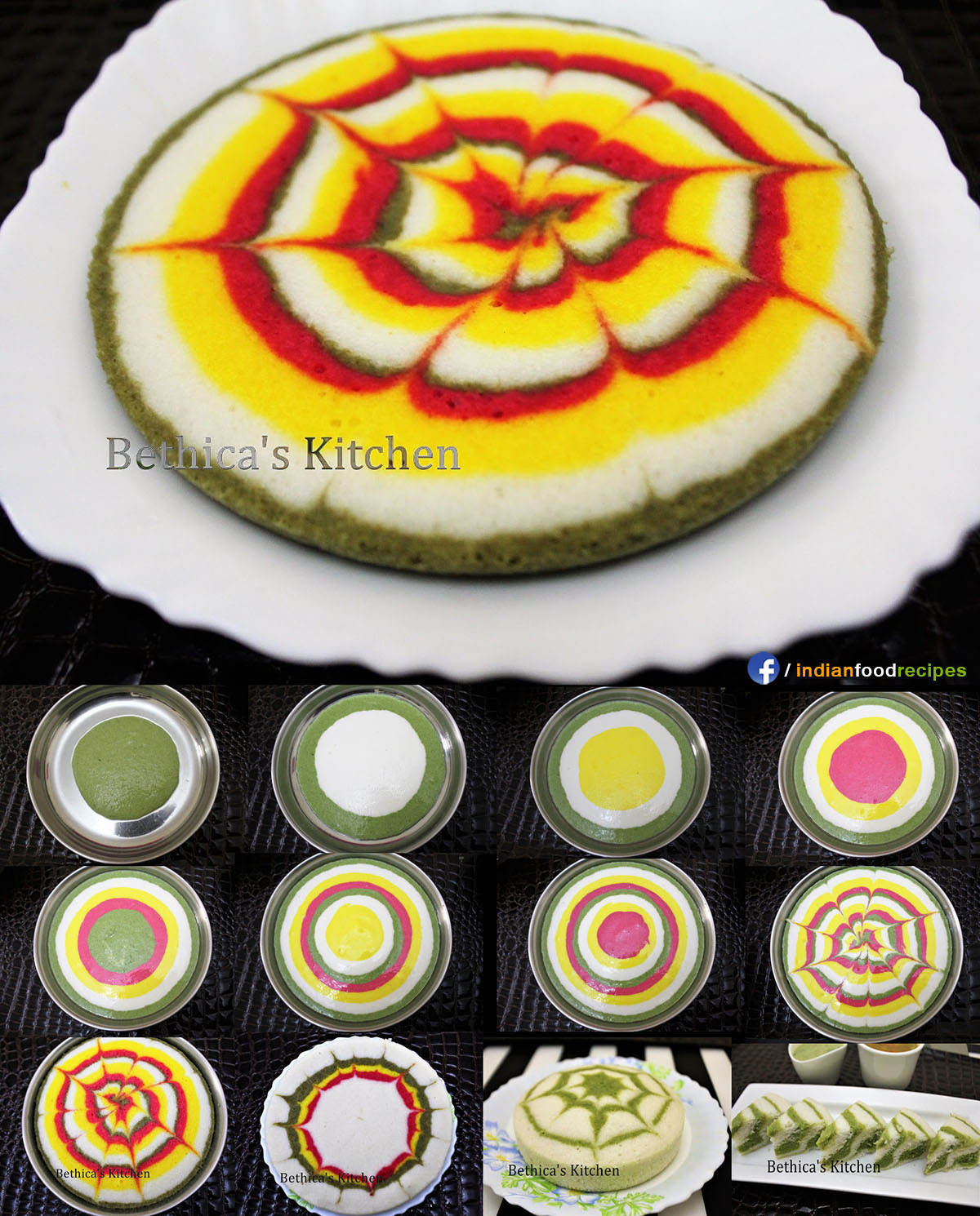 Multi Coloured Designer Idli Cake Recipe Step By Step