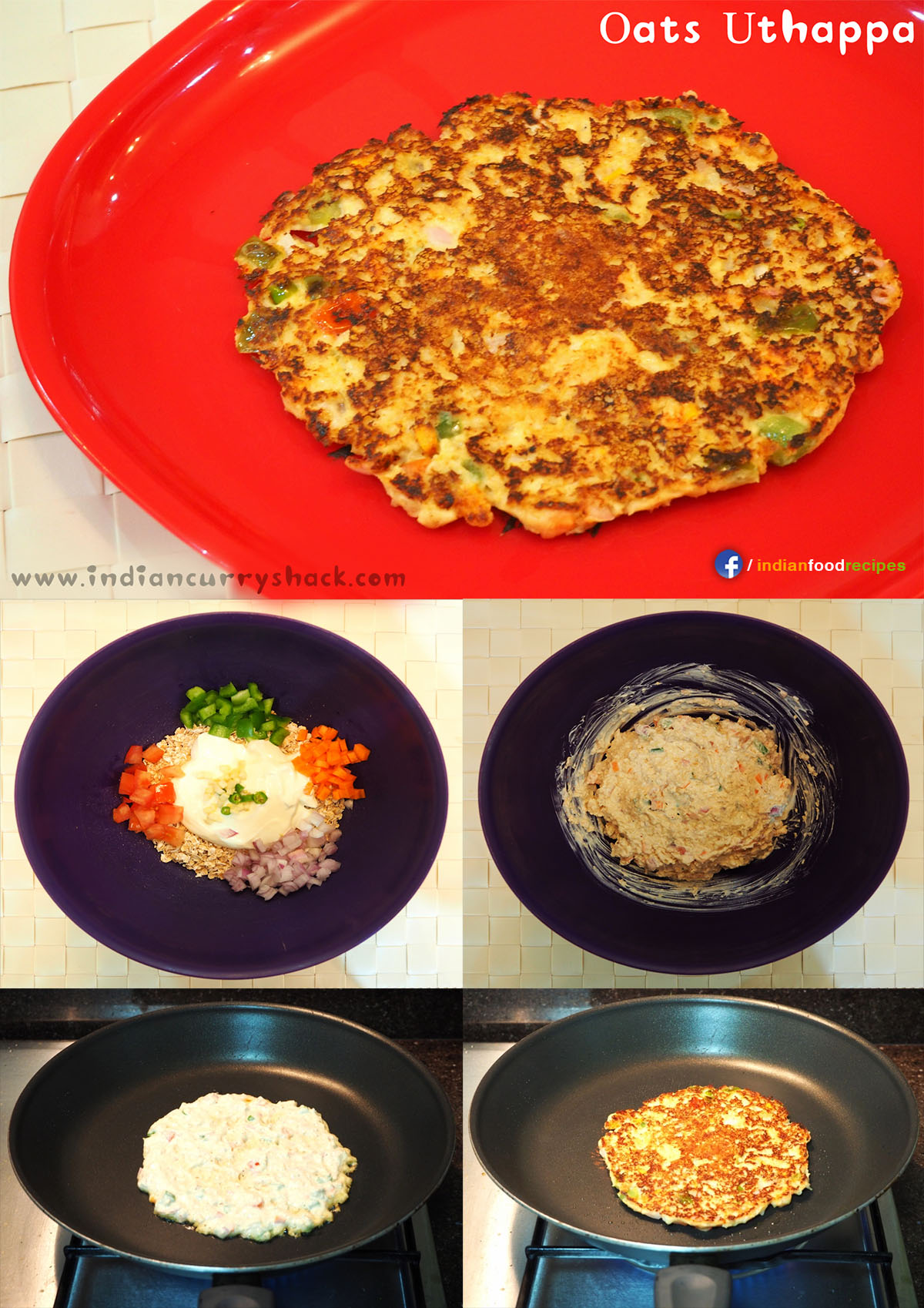 Oats Uttapam or Uthappa (Indian Pancake) recipe step by step