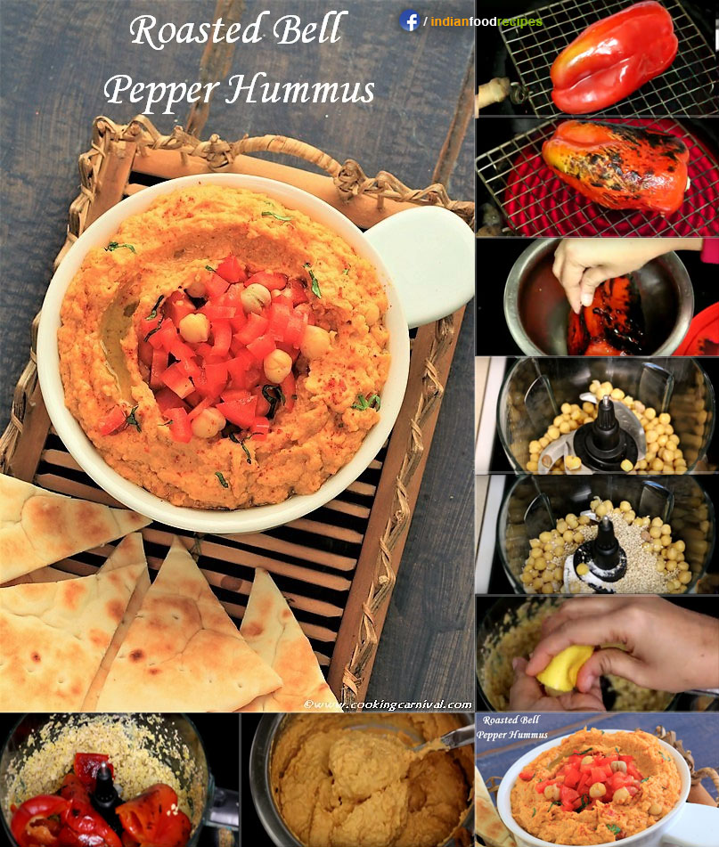 Roasted Bell Pepper Hummus (Indo-Arabian) recipe step by step