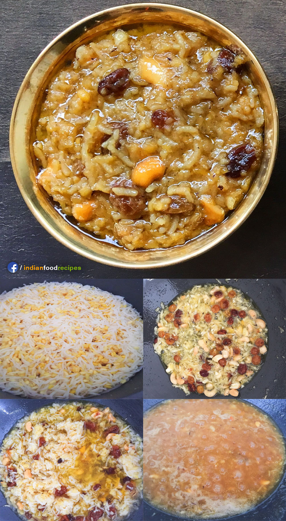 Sihi Huggi / Sweet Pongal recipe step by step